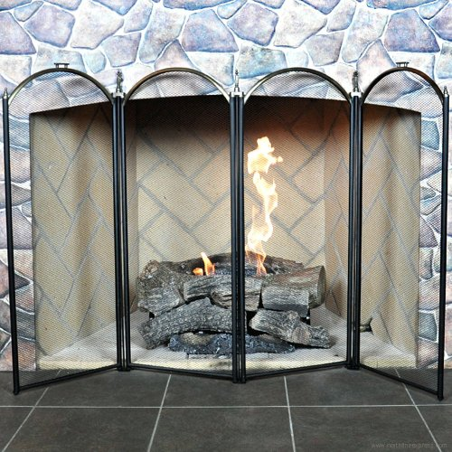 Uniflame 4 Panel Triple-Plated Folding Fireplace Screen (Brass Plated Panels)