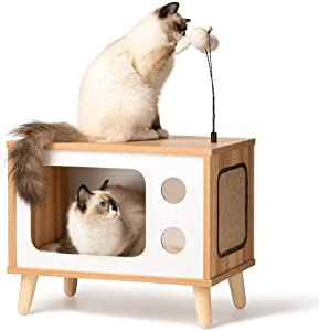Rolife Cat House Wooden Cat Condo Cat Bed Indoor TV-Shaped Sturdy Large Luxury Cat Shelter Furniture with Cushion Cat Scratcher Bell Ball Toys