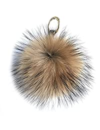 "15cm 6"" Natural Brown Real Raccoon Fur Ball Pompom Bag Charm Keychain"