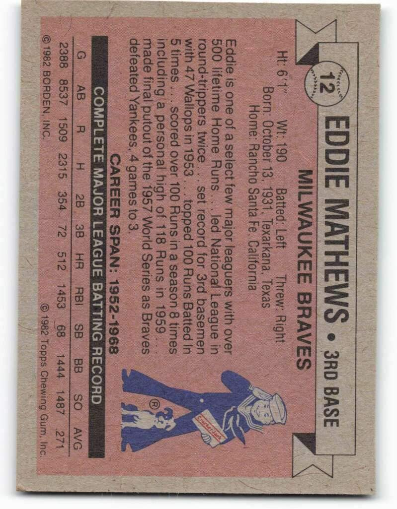 1982 Topps Cracker Jack #12 Eddie Mathews NM-MT Milwaukee Braves Baseball