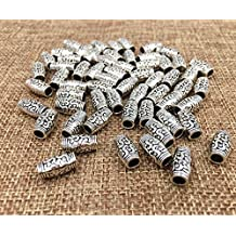60pcs Buddhism Tube bead Spacer bead with decorative embossment pattern Lucky Charm Pendant Connector for DIY Crafting Bracelet Necklace Accessories By Alimitopia(Antique Silver)