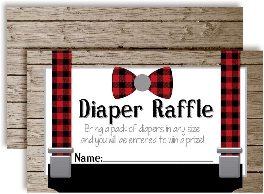 """Bring a Pack of Diapers to Win Favors /& Prizes Little Man Bow Tie Buffalo Plaid Suspenders Diaper Raffle Tickets for Boy Baby Showers 20 2 X 3/"""" Double Sided Insert Cards for Games by AmandaCreation"""
