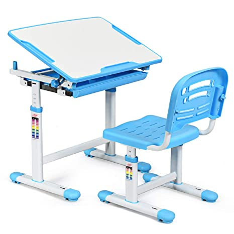Costway Kids Desk And Chair Set Tilted Desktop Spacious Storage