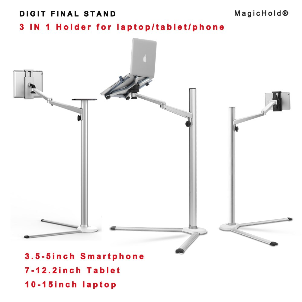 MagicHold 3 in 1 360º Rotating Height Adjusting Laptop Stand/ Ipad Pro 12.9''/iPAD iPAD mini / Tablet Bed floor Stand for Laptop(13-15.6 inch)