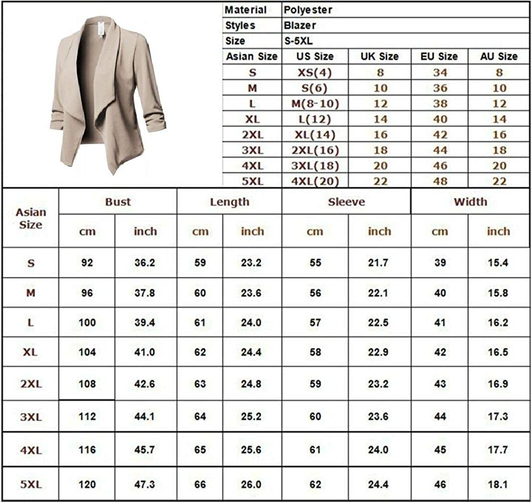 Khaki 3XL Women Casual Blazer Slim Suit Business Blazer Open Front Cardigan Coat with Long Sleeve Work Office Jacket Cardigan Outwear