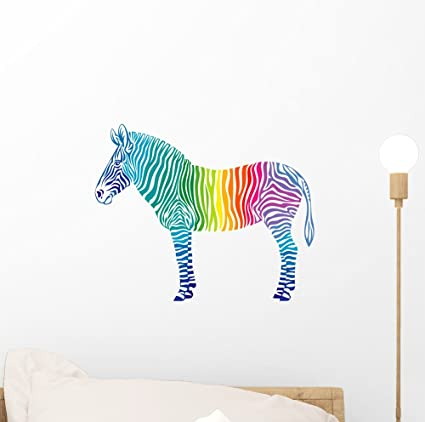 5ddc762092988 Image Unavailable. Image not available for. Color  Wallmonkeys Rainbow  Zebra Wall Decal ...