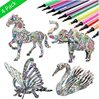 4-Pack 3D Coloring Animal Puzzle Set With 12 Pen Markers
