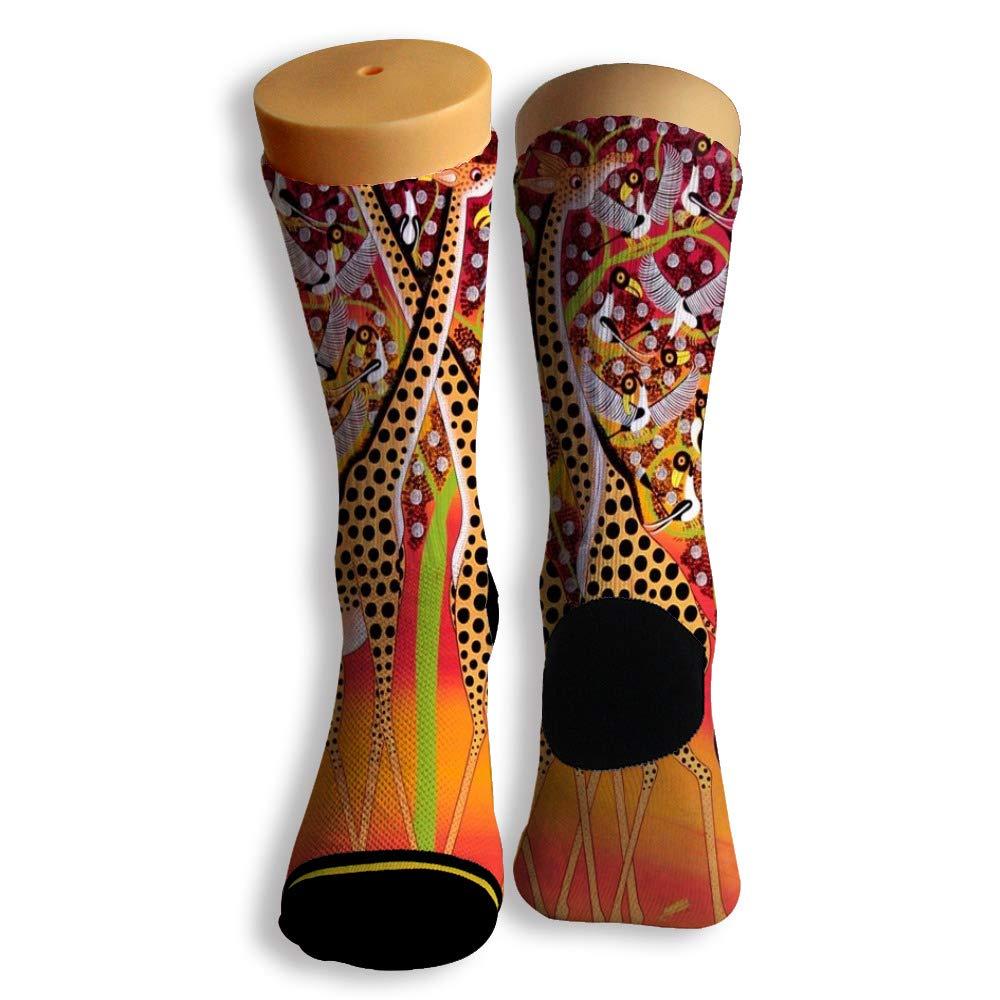 Basketball Soccer Baseball Socks by Potooy Cute giraffe Patterned 3D Print Cushion Athletic Crew Socks for Men Women