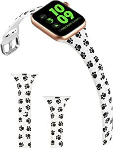 ACBEE Compatible with Apple Watch Band 38mm 40mm 42mm 44mm for Women Small Large, Slim Narrow Floral Bands for Apple Watch Series 5/Series 4/Series 3/Series 2/Series 1 (Animal Prints, 38mm/40mm)