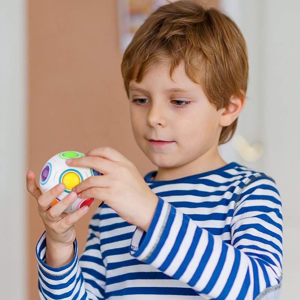 D-FantiX Rainbow Puzzle Ball 4 Pack, Magic Rainbow Ball Puzzle Cube Fidget Balls Puzzle Brain Games Fidget Toys for Adult Kids White by D-FantiX (Image #6)