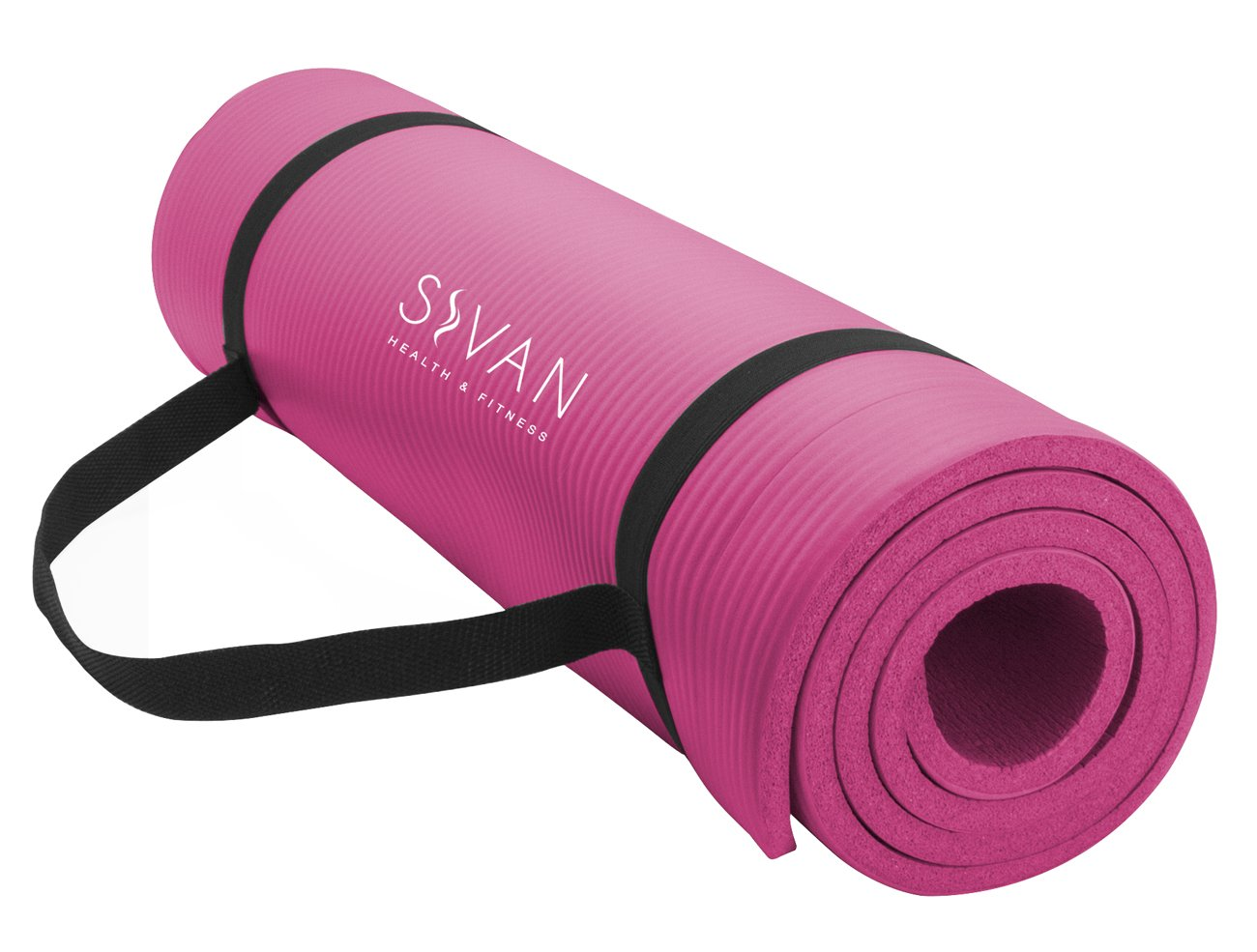 Sivan Health and Fitness 1/2-InchExtra Thick 71-Inch Long NBR Comfort Foam Yoga Mat for Exercise, Yoga, and Pilates (Pink)