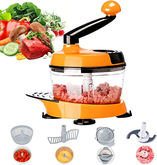 Food Chopper Kitchen Manual Vegetable Meat Processor Blender Slicer Peeler Cut