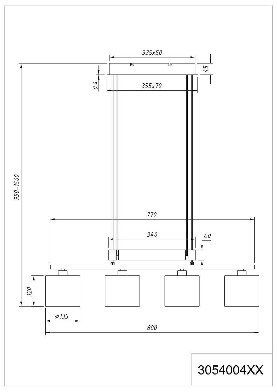E14 Stoffschirm Grau 13.5 x 77 x 150 cm Trio Leuchten Jojo Pendelleuchte Garda 305400411 Nickel matt