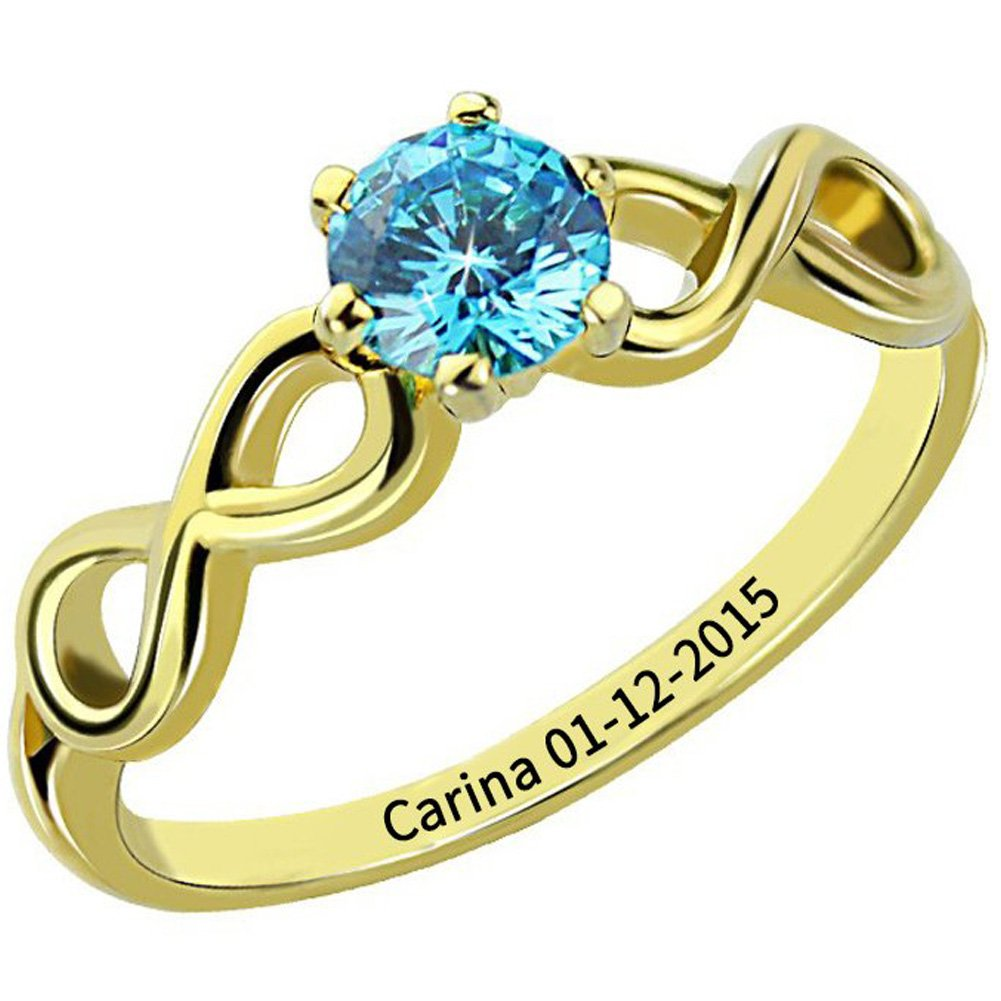Ouslier 925 Sterling Silver Personalized Birthstone Infinity Name Ring with Engraving Inside (Golden)