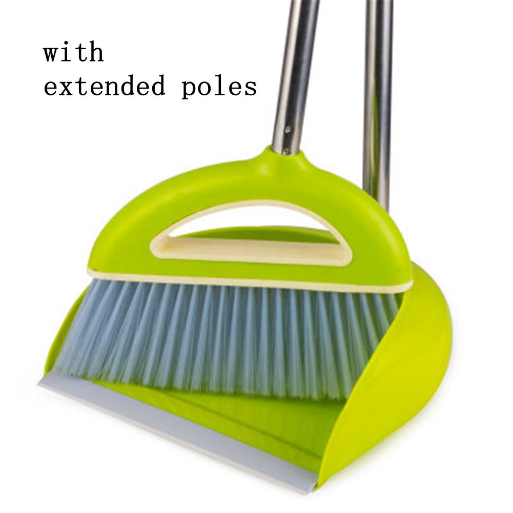Broom Dustpan Set EXTRA LONG 38 inches 49 inches handle-Broom And Dustpan Upright,Lies Tightly On Floor-Commercial Broom Set for Home, Lobby, Shop, Garage,Schools,Churches,Hotel,Bars