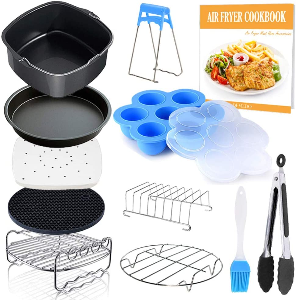 Square Air Fryer Accessories 11 pcs with Recipe Cookbook Compatible for Philips Air Fryer, COSORI and other Square AirFryers and Oven, Deluxe Deep Fryer Accessories Set of 12-8 inch
