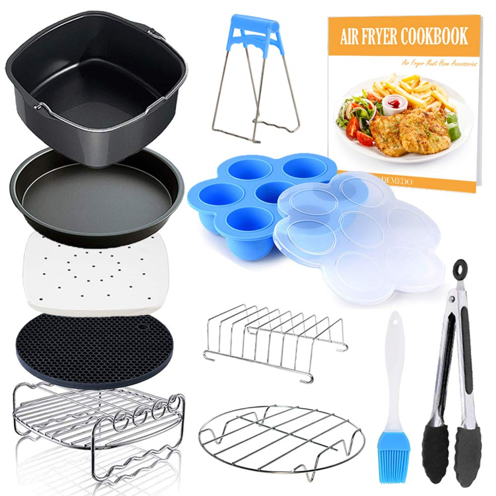 Square Air Fryer Accessories 11 pcs with Recipe Cookbook Compatible for Philips Air Fryer, COSORI and other Square AirFryers and Oven, Deluxe Deep Fryer Accessories Set of 12-6.5 inch
