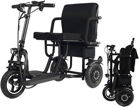 YEBEI - Monopattino elettrico a 3 ruote, pieghevole, per anziani disabili, supporto 280 kg, peso solo 58 kg (30 km)