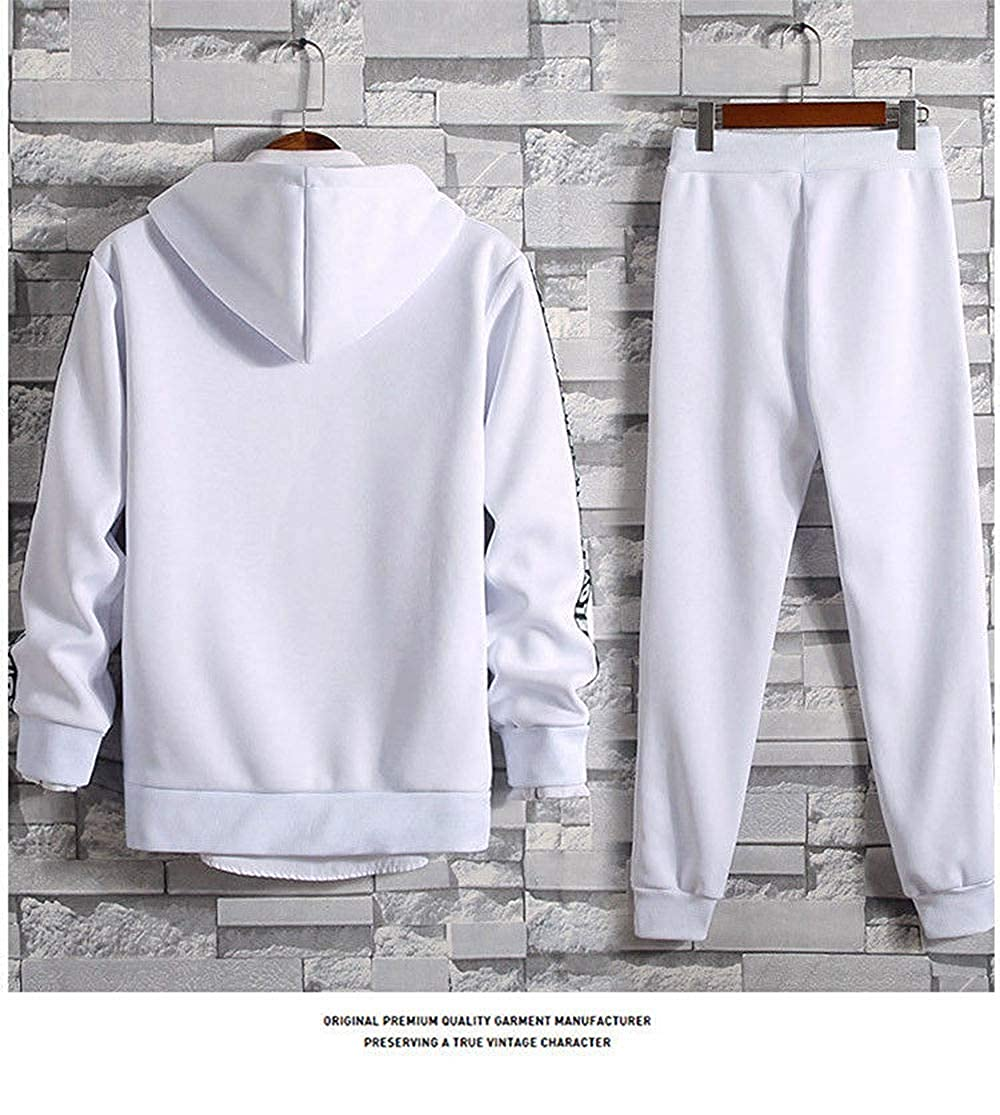 TOP Fighting Mens 2 Piece Tracksuits Pleated Jogger Pants Long Sleeve Zipper Hoodie Solid Color Sports Suit