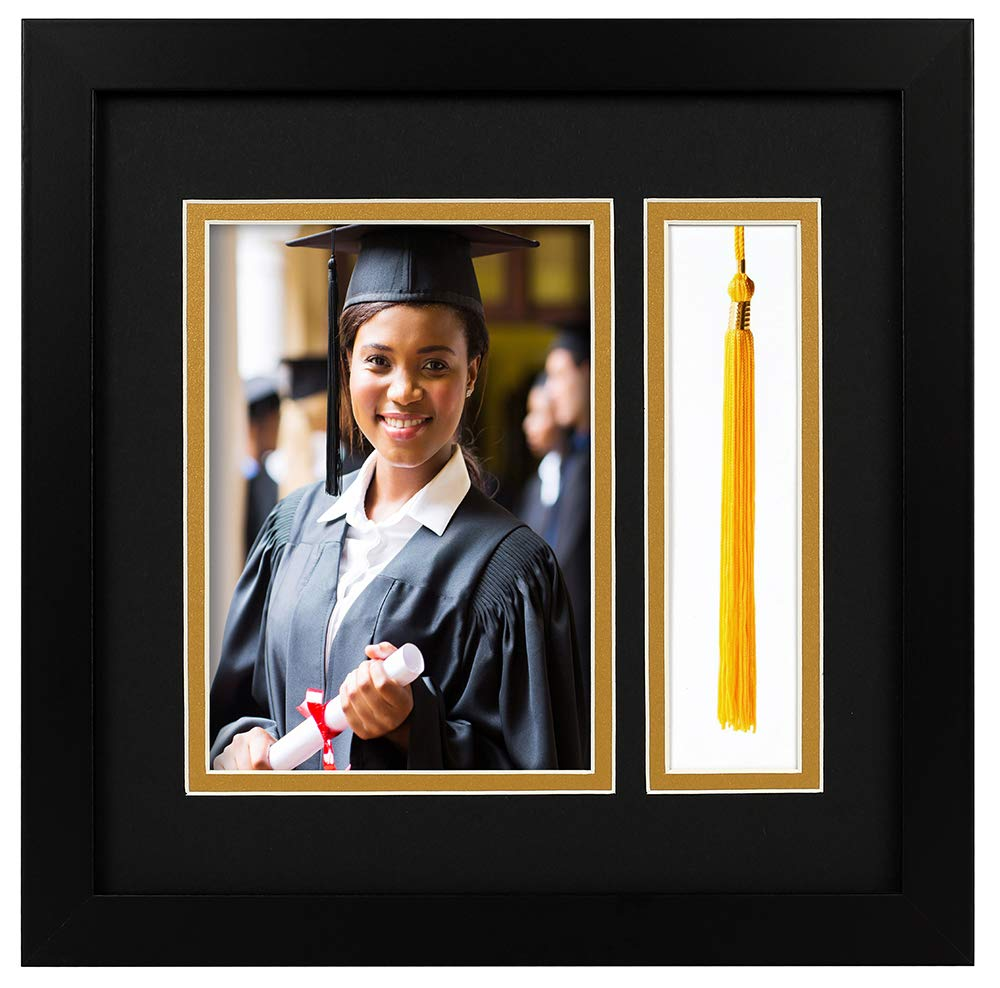 10x10 Black Shadow Box Frame - 5x7 Photo - Tassel - Double Mat (Black Over Gold) - Square - Sawtooth Hanger - Wall Mount - Real Glass - Graduation Theme