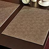 Chinese style simple style Leather placemat,Waterproof and oil proof,Disposable Table mat,Environmental protection PU material,smoke,18.11''x12.99''(Set of 4)