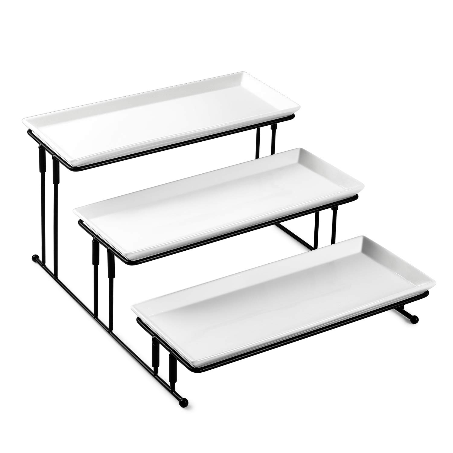 Sweese 733.101 3 Tiered Serving Stand - Stairstep Sturdier Food Display Stand with White Porcelain Platters, Serving Trays for Parties