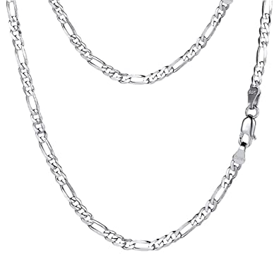 dc2c92ac2ad25 PROSTEEL Stainless Steel/925 Sterling Silver Figaro Chain Necklace,  Men/Women Jewelry, 2.9mm-13mm, 18''-30''