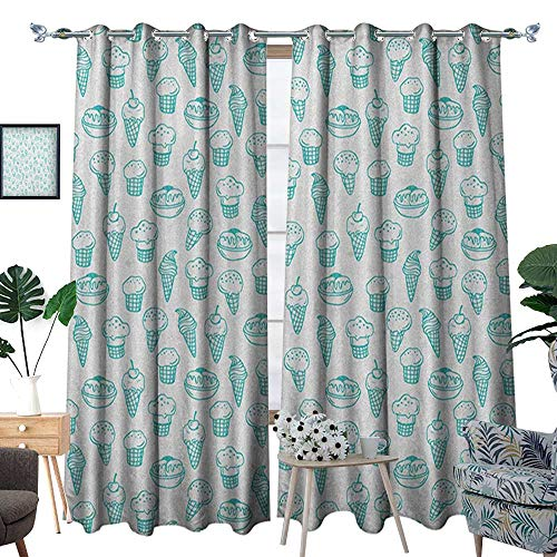 Warm Family Ice Cream Thermal Insulating Blackout Curtain Hand Drawn Ice Cream Pattern Abstract Style and Fresh Summer Color Childish Patterned Drape for Glass Door W72 x L108 Turquoise ()