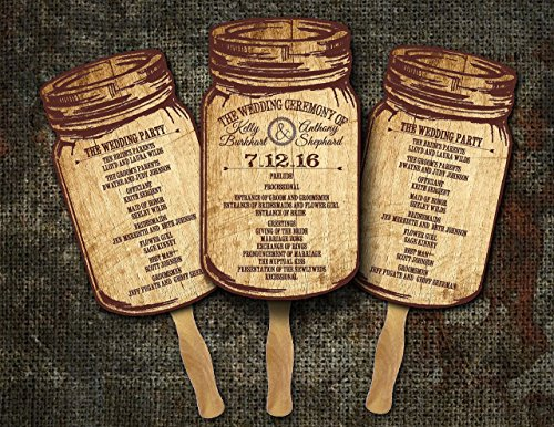 Mason Jar Wedding /Wedding program fans/Wedding fan programs/Wedding favors for guests/Rustic Wedding favors/(Pack of (Fan Wedding Programs)