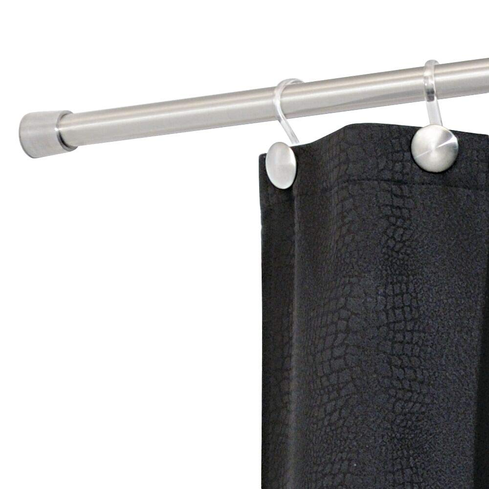 iDesign Astor Metal Tension, Adjustable Customizable Curtain Rod for Bathtub, Shower Stall, Closet, Doorway, 43''-75'', Brushed Stainless Steel