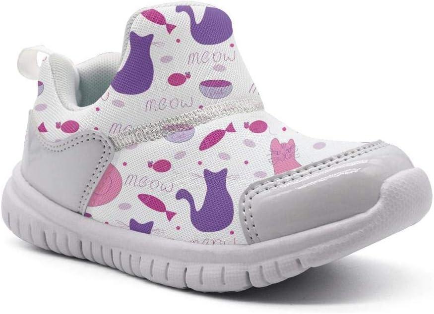 ONEYUAN Children Kitten Cats Fish Meow Kid Casual Lightweight Sport Shoes Sneakers Running Shoes