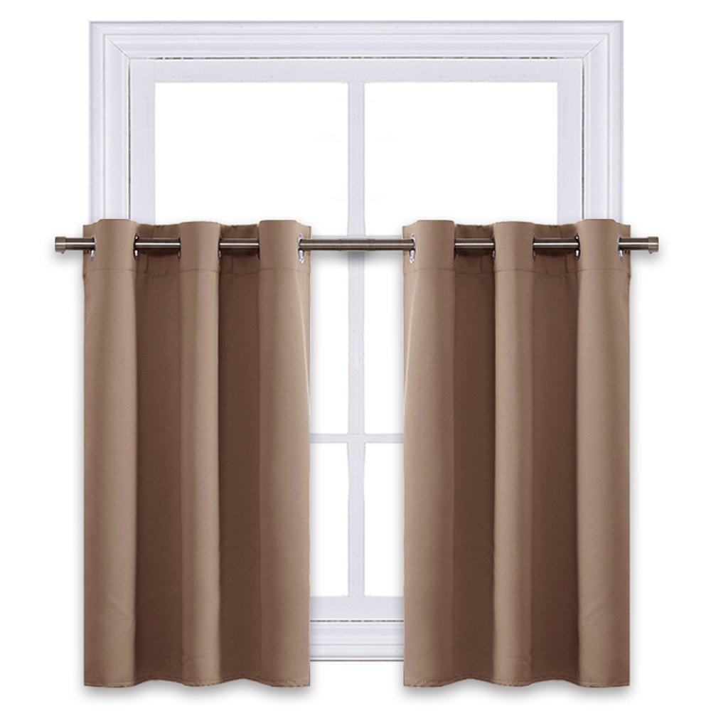 NICETOWN Short Curtains Blackout Nursery Valance - Thermal Insulated Light Reducing Drapes for Half Window (One Pair, 42W by 24L Inches, Cappuccino)