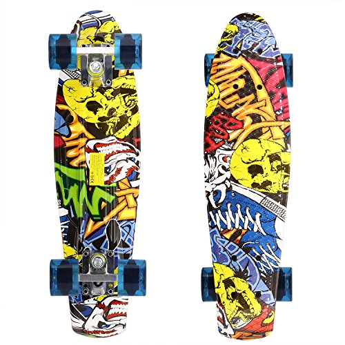 WeSkate 22'' Cruiser Skateboard Plastic Banana Board Retro Style Complete Skateboards, Christmas Birthday Gift for Kids Age 5+ (22' Skateboard)
