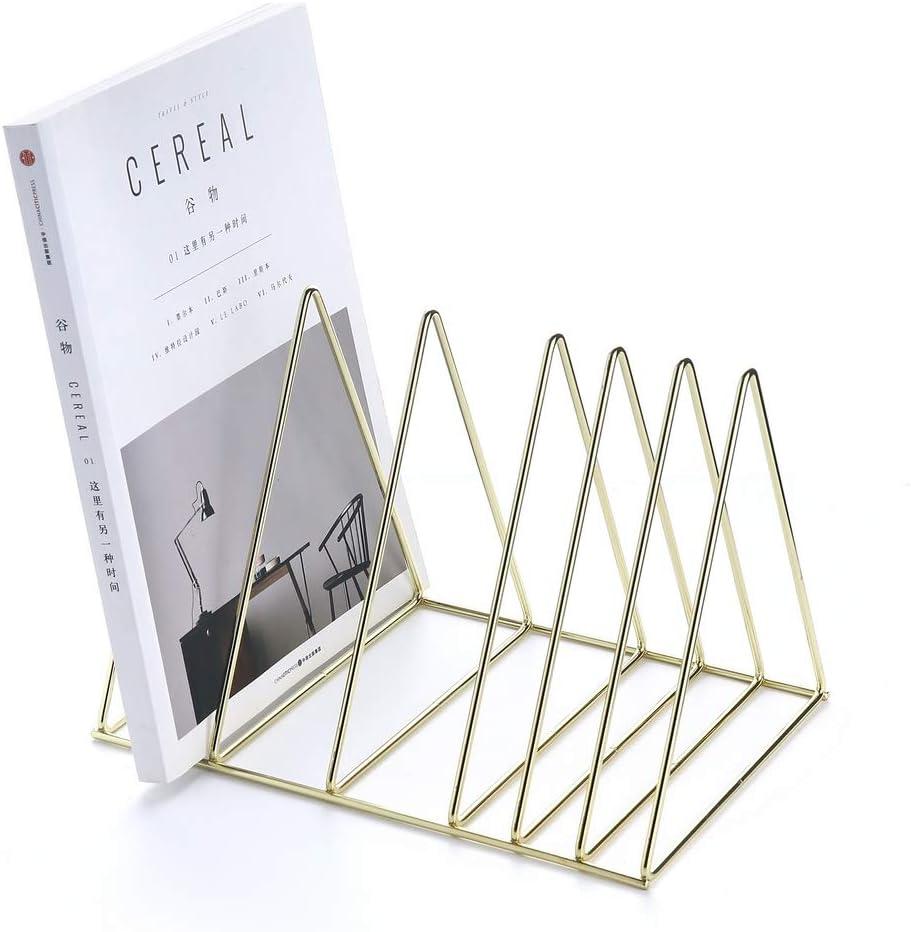 Yagote File Holder Stand Upgraded Metal Desktop Book Shelf Book Stand File Organizer Magazine Rack for Home Office Decoration (Upgraded Shelf, Gold)