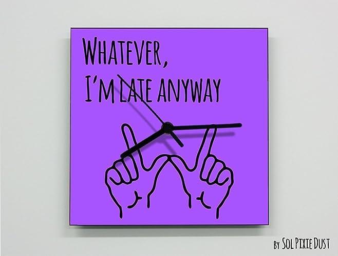 Amazon Whatever Im Late Anyway Hand Symbol Square Purple
