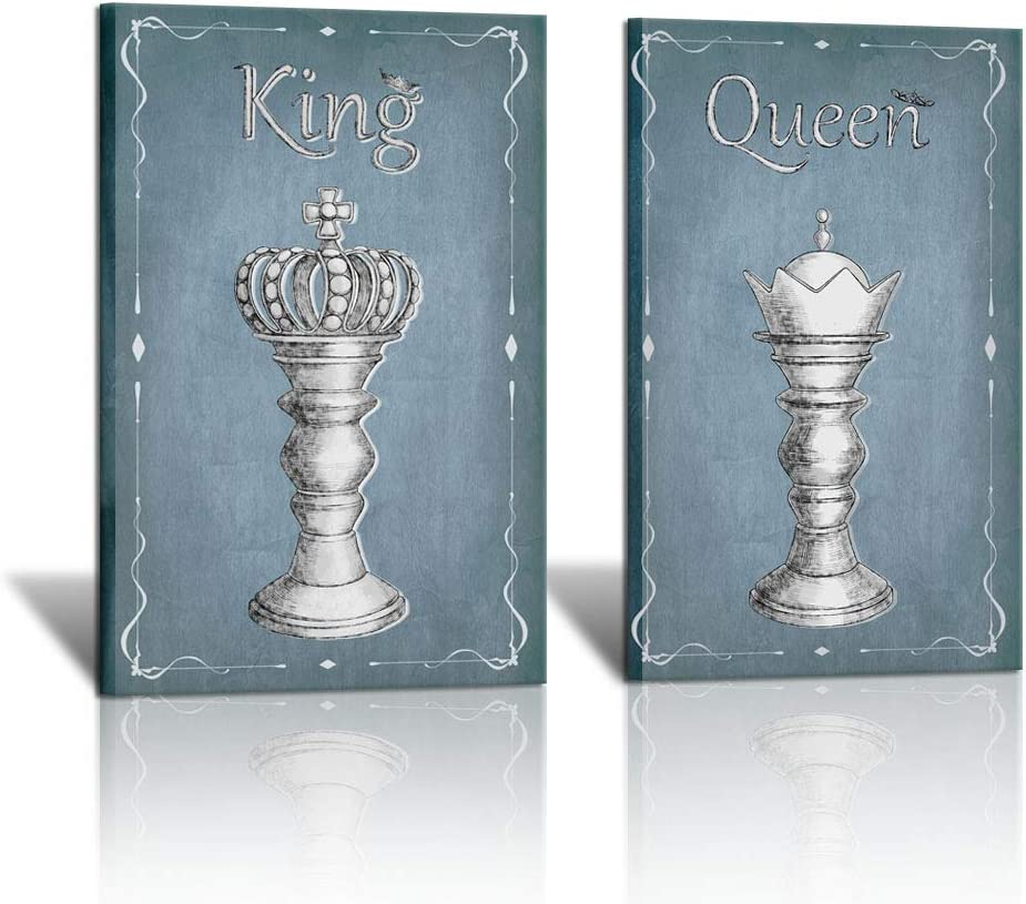 "2 Piece Blue and White Chess Canvas Wall Painting King and Queen Chess Pictures Retro Chess Photo Gallery Canvas Wrap Giclee Artwork for Game Room Study Room Club Wall Art Decor 16""x24""x2PCS"