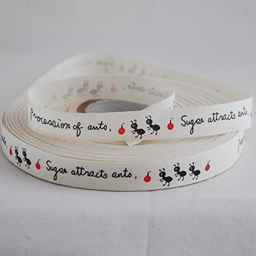 Cinta de algodón impresa para coser – Ants – aprox. 1,5 cm de ...