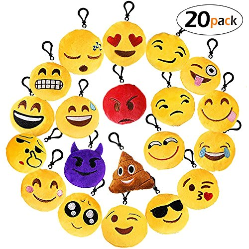 oobest 20 Pack Emoji Keychain/Emoji-Pop Party Favors, HonFei Mini Emoji Plush Pillows Gifts/Party Supplies/Car Key Ring Pendant/Keychain Decorations for Kids - Mini Ring Pillow