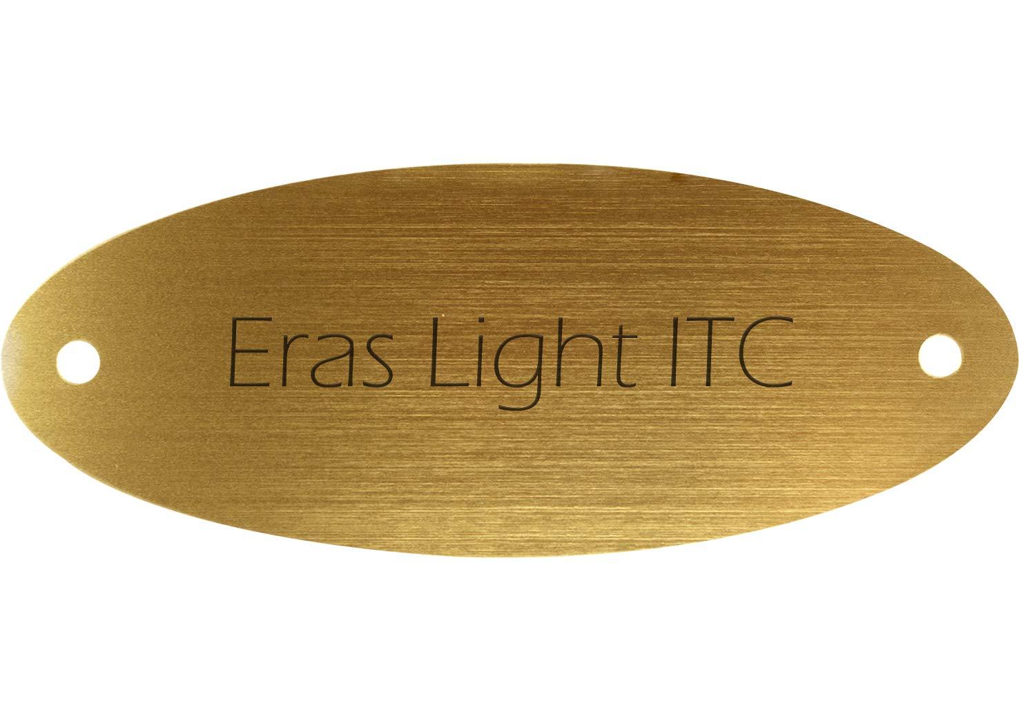 Kopierladen Targa campanello con incisione personalizzata, palstica dorata metallizzata, 115 x 45 mm, ovale, testo inciso nero, carattere: Eras Light ITC