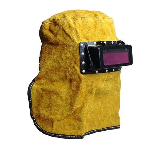 Kalttoy máscara de filtro de oscurecimiento automático solar, casco de soldadura de cuero con capucha