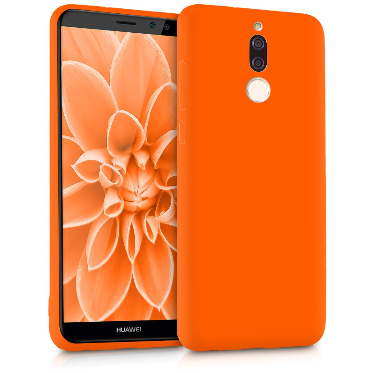 kwmobile TPU Silicone Case Compatible with Huawei Mate 10 Lite - Soft Flexible Protective Phone Cover - Neon Orange