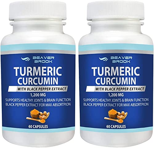 Beaver Brook All Natural Turmeric Curcumin with Black Pepper Extract for Better Absorption 1,200mg Dietary Supplement, Non-GMO – 60 Capsules – 2 Pack