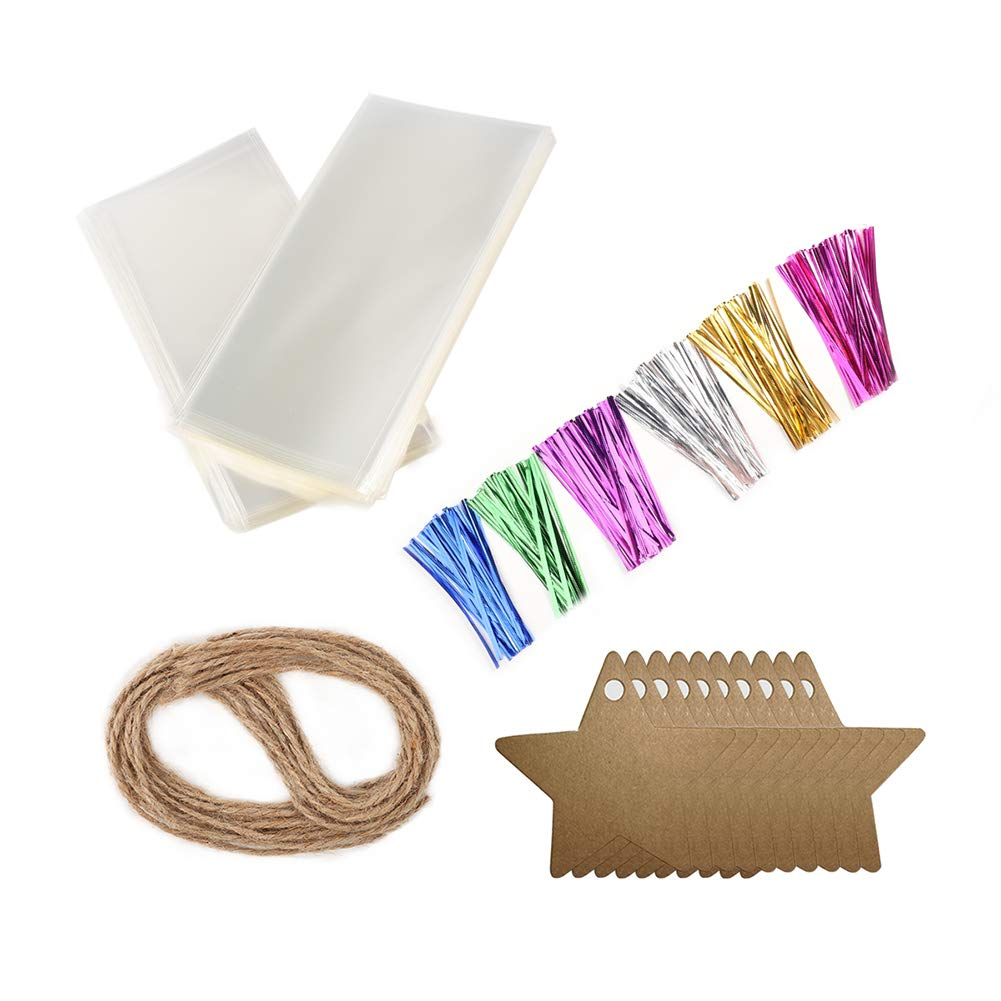 200 PCS Clear Treat Bags Flat Cello Cellophane Treat Bags Good for Bakery, Cookies, Candies,Dessert,Popcorn (2'' x 10'')