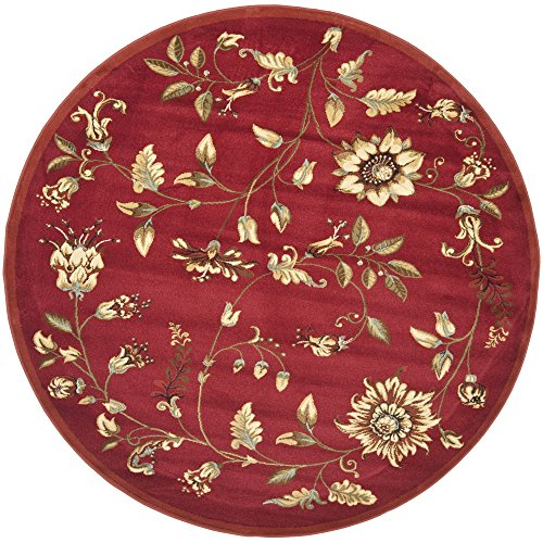 Floral Vines Rectangle Rug (Safavieh Lyndhurst Collection LNH552-4091 Traditional Floral Red and Multi Round Area Rug (5'3