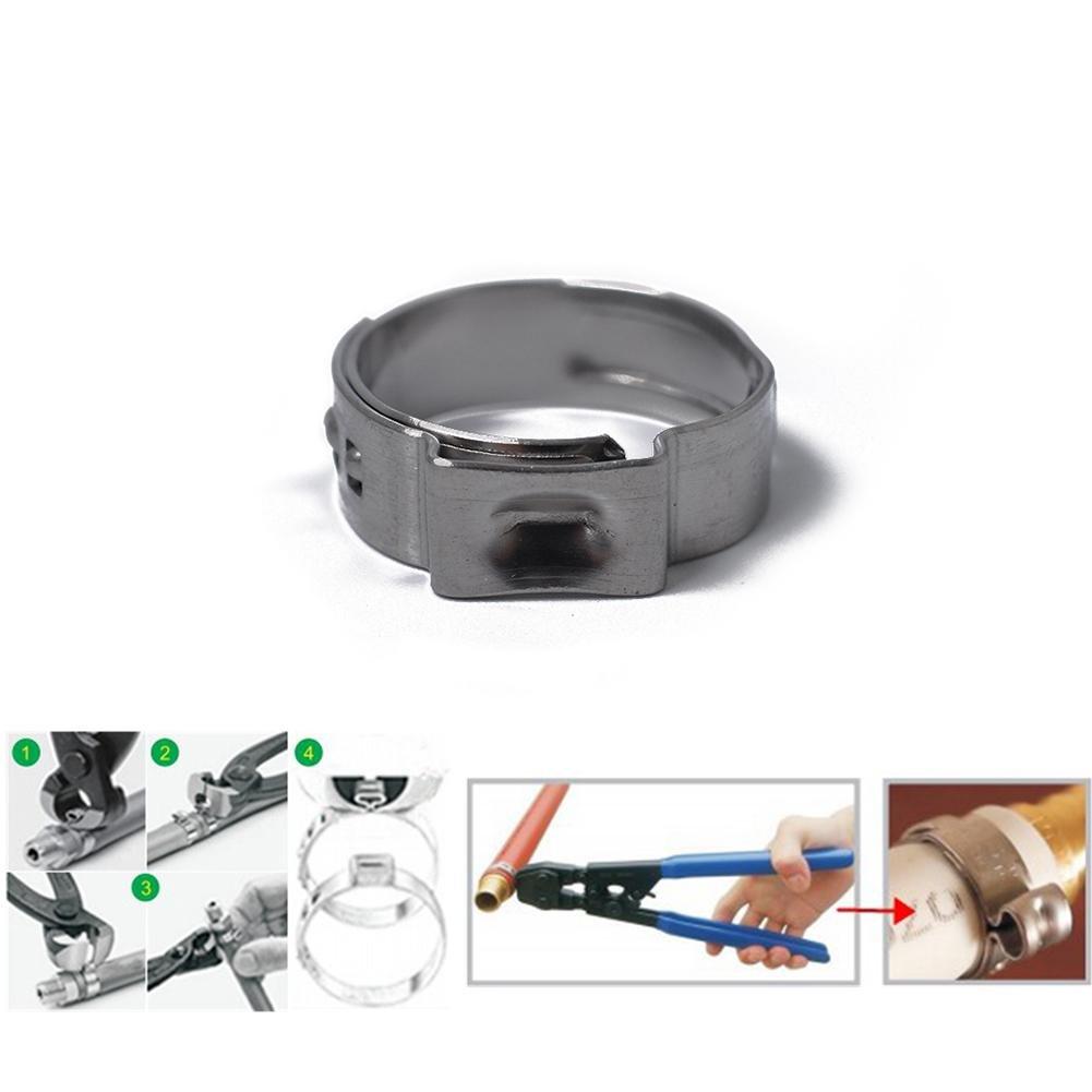 Kbsin212 Schlauchschellen 100 x 5.3-15.3mm Single Ear Plus Edelstahl Hydraulikschlauchschellen O-Clips Rohr Kraftstoff Luft