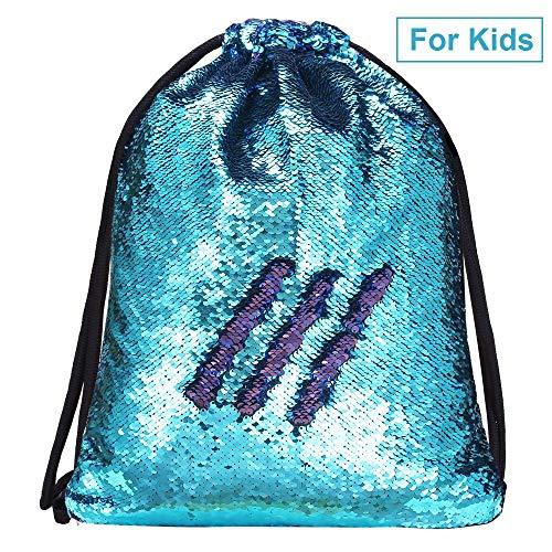 Alritz Mermaid Sequin Drawstring Bags, Reversible Flip Sequins Backpacks Magic Tote Glittering Shoulder Bags for Girls Kids Women (Blue/Purple - Kids Version)