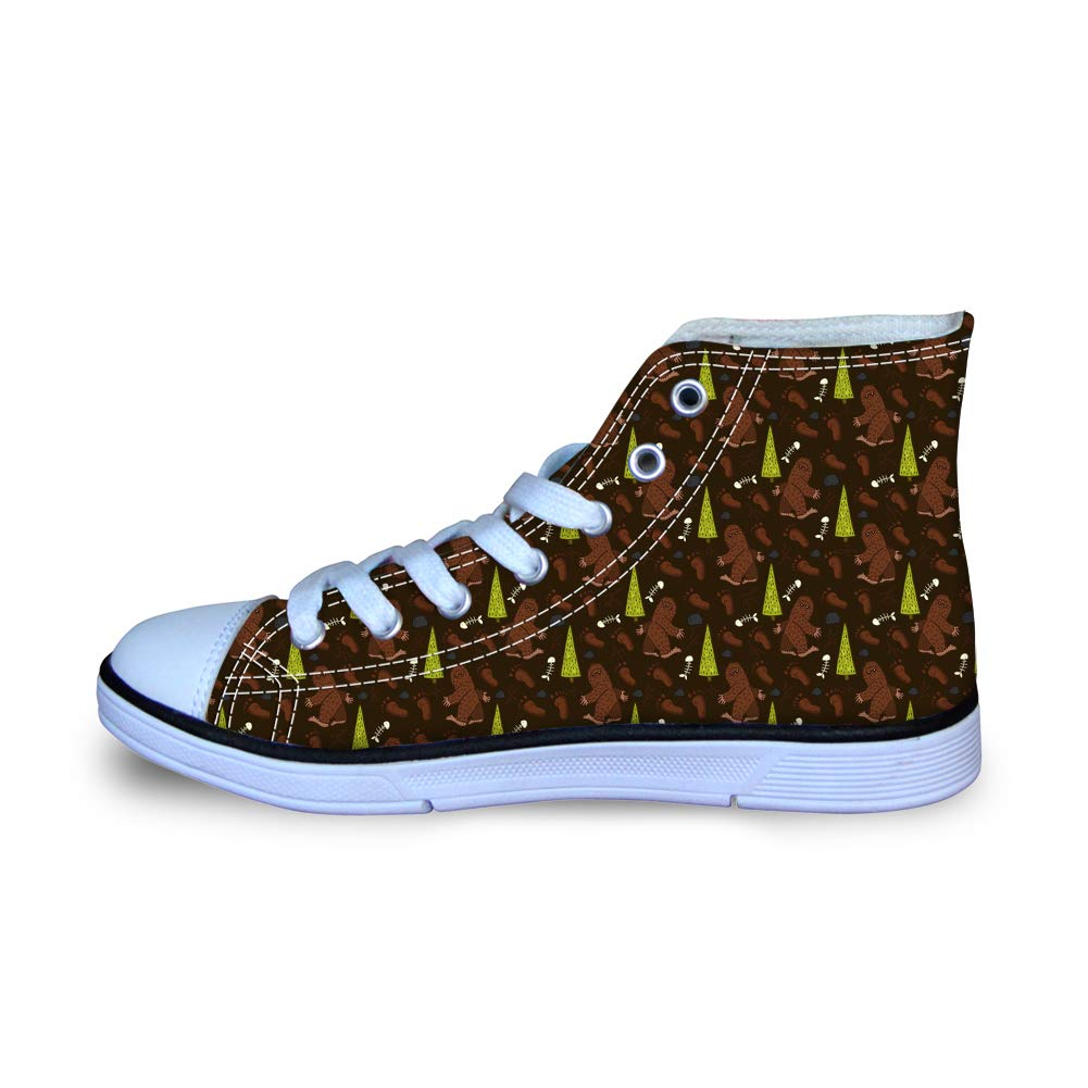 Canvas High Top Sneaker Casual Skate Shoe Boys Girls Bigfoot Walking in Woods
