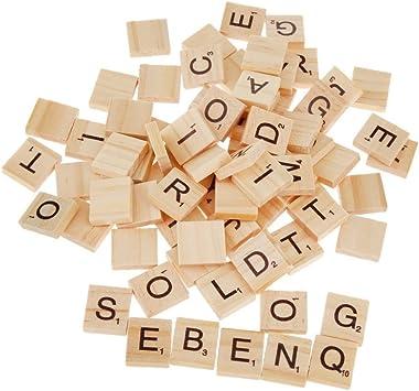 PIXNOR 100 Piezas Madera Azulejos Letras para Juegos de Mesa Regalo niño Bricolaje Azulejos: Amazon.es: Juguetes y juegos