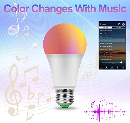 CANMEIJIA Smart Light Bulb Compatible with Alexa,Color Changing Light Bulb with Remote E26 Bulbs 2.4G Wi-Fi Compatible with Alexa Google Assistant, Music-Controllable Color Changing LED Bulbs 4 Pack