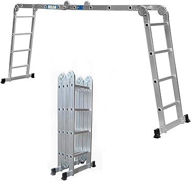 2018 Nuevo diseño 4.7 M multiusos escalera extensible de aluminio con bisagras de bloqueo de seguridad plata y bandeja de herramientas, US Stock: Amazon.es: Bricolaje y herramientas